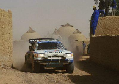 Peugeot 205 T16 of Juha Kankkunen at 1988 Dakar Rally