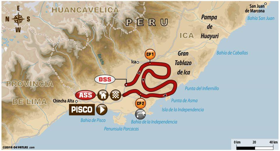 Recorrido de la segunda etapa del Rally Dakar 2018, Pisco-Pisco