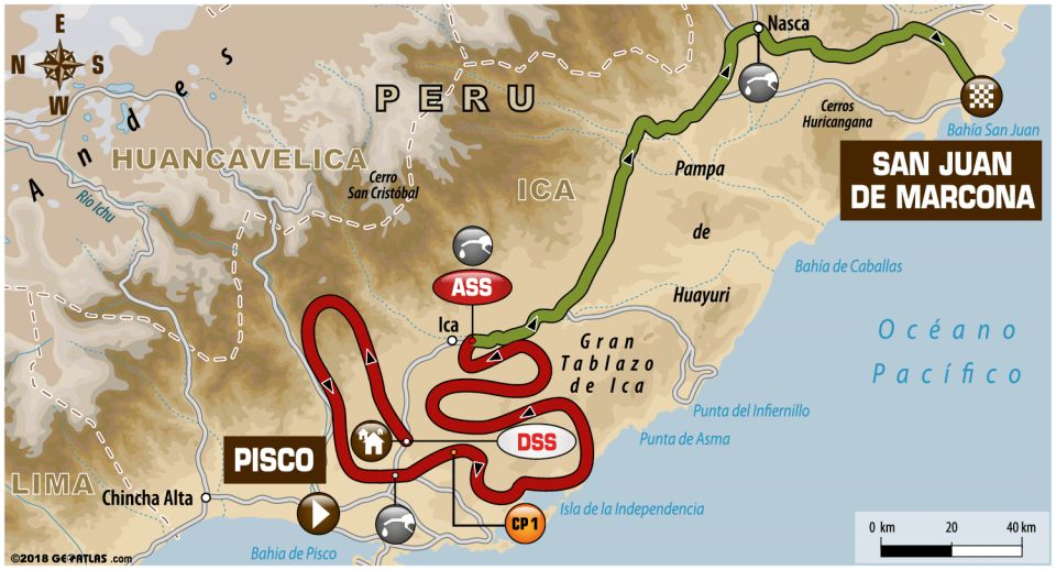 Recorrido de la tercera etapa del Dakar 2018: Pisco-San Juan de Marcona