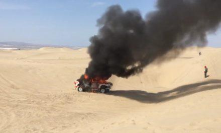 Se prendió fuego el auto de Alicia Reina en la tercera especial del Dakar 2018