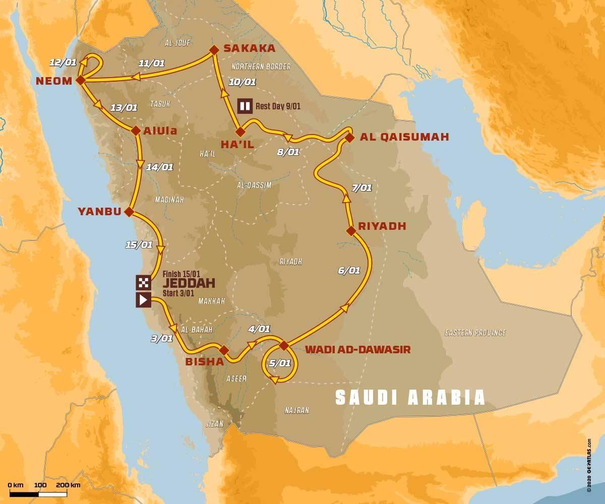 El recorrido completo del Rally Dakar 2020