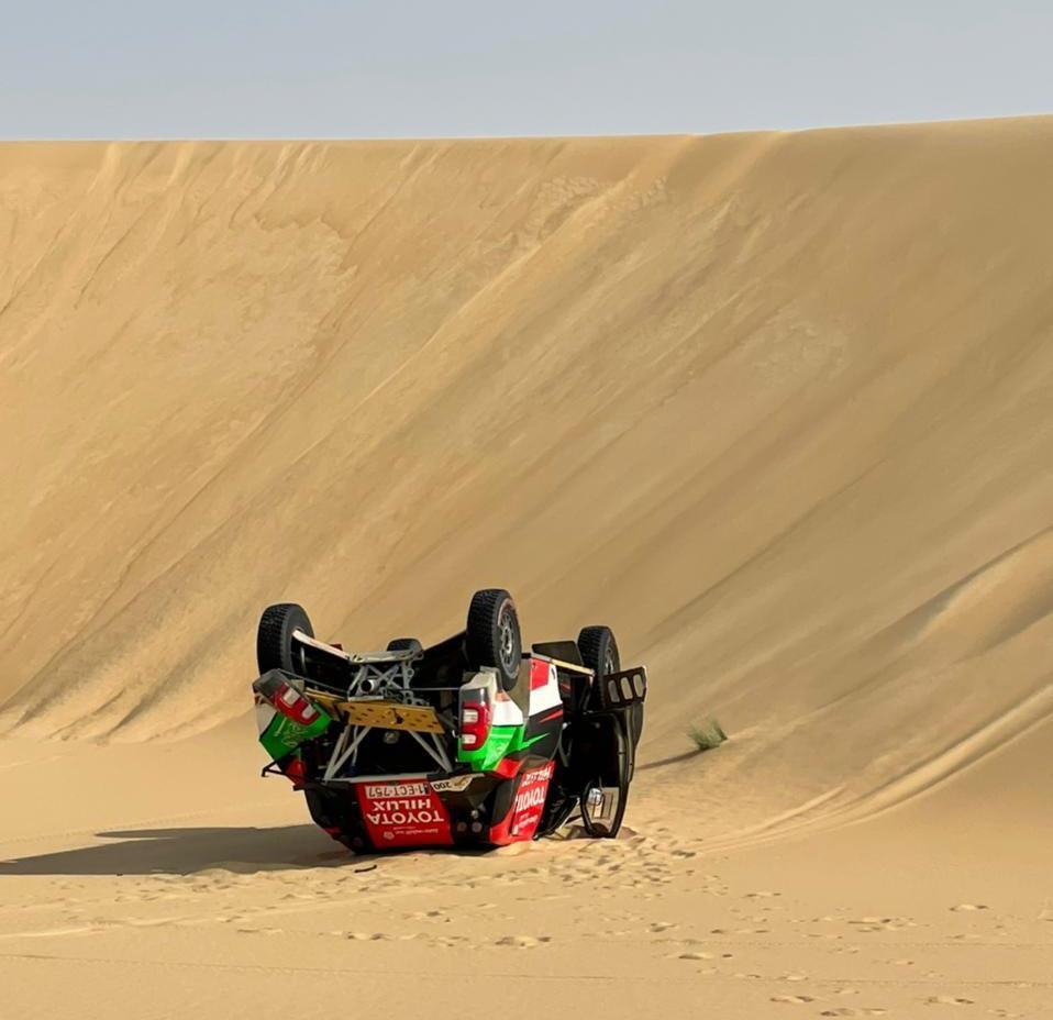 Yazeed Al-Rajhi sufrió un duro accidente y tuvo que abandonar la Baja Sharqiyah