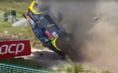 """Aparatoso accidente en el """"Salto Fafe"""" del Rally de Portugal"""