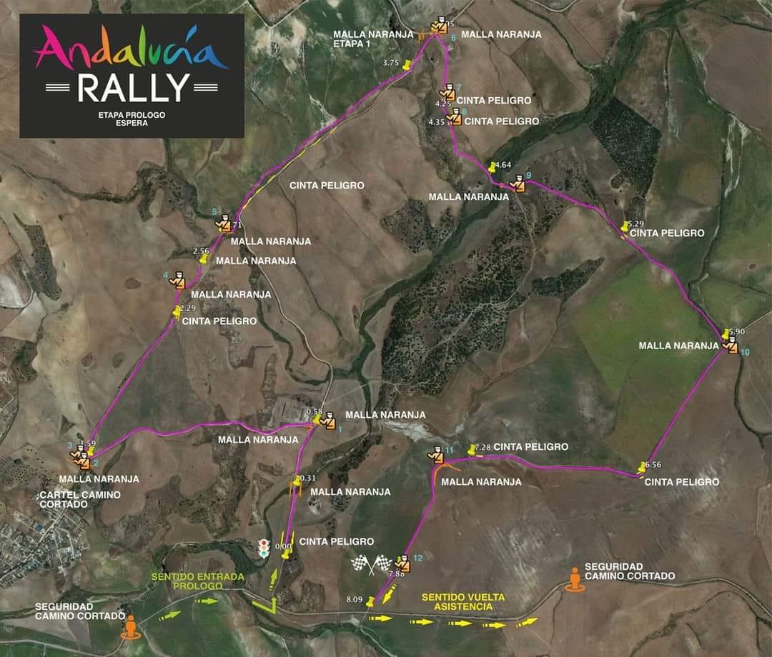 Recorrido detallado para el Prólogo del Andalucía Rally 2021